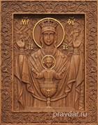 Неупиваемая чаша Божия Матерь, резная икона на дубовой цельноламельной доске