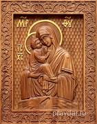 Почаевская Божия Матерь, резная икона на дубовой цельноламельной доске