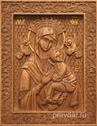 Неустанная помощь Божия Матерь, резная икона на дубовой цельноламельной доске