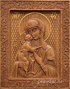 Феодоровская Божия Матерь, резная икона на дубовой цельноламельной доске