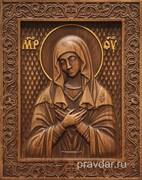 Умиление Божия Матерь, резная икона на дубовой цельноламельной доске