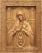 В родах помощница Божия Матерь, резная икона на дубовой цельноламельной доске