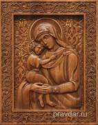 Взыскание погибших Божия Матерь, резная икона на дубовой цельноламельной доске