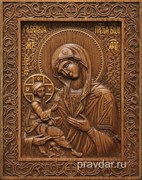 Гребенская Божия Матерь, резная икона на дубовой цельноламельной доске