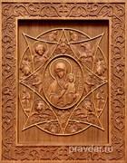 Неопалимая купина Божия Матерь, резная икона на дубовой цельноламельной доске