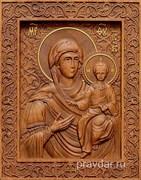 Смоленская Божия Матерь, резная икона на дубовой цельноламельной доске