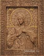 Калужская Божия Матерь, резная икона на дубовой цельноламельной доске