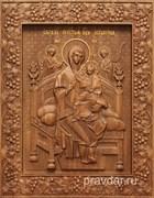 Всецарица Божия Матерь, резная икона на дубовой цельноламельной доске