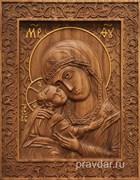 Игоревская Божия Матерь, резная икона на дубовой цельноламельной доске