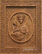 Леснинская Божия Матерь, резная икона на дубовой цельноламельной доске