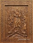 Добрый Пастырь, резная икона на дубовой цельноламельной доске