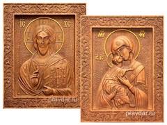 Венчальная пара, резные иконы на дубовой цельноламельной доске (Владимирская)