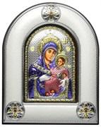 """Икона Божья Матерь """"Вифлеемская"""", греческая икона шелкография, оклад - вакуумное напыление серебром и золотом, цветная эмаль, деревянное основание."""
