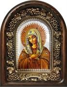 Умиление образ Божией Матери, дивеевская икона из бисера на перламутре ручной работы