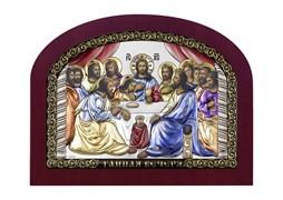 Тайная вечеря, серебряная икона деревянный оклад цветная эмаль