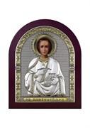 Пантелеймон целитель, серебряная икона с позолотой в деревянном окладе