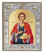Пантелеймон целитель, икона 12х14 см, шелкография, серебряный оклад, золочение, кристаллы Swarovski