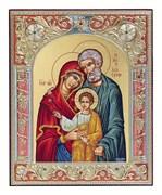 Святое Семейство, икона 12х14 см, шелкография, серебряный оклад, золочение, цветная эмаль, кристаллы Swarovski