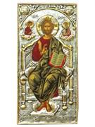 """Икона """"Спас на троне"""" серебряный оклад, золочение, шелкография на холсте, дерево."""