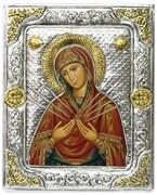 Икона Семистрельная Божья Матерь в серебряной рамке