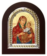 Иерусалимская Божья Матерь, икона шелкография, деревянный оклад, серебряная рамка