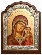 Казанская Божья Матерь, икона шелкография, деревянный оклад, серебряная рамка