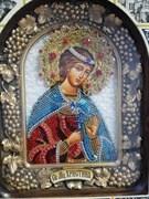 Икона мученицы Христины Кесарийской, дивеевская икона из бисера