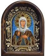 Икона Святая преподобная Эмилия, дивеевская икона из бисера
