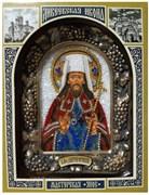 Святитель Димитрий (Дмитрий) Ростовский митрополит, дивеевская икона из бисера ручной работы