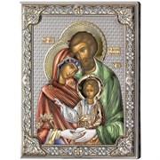 Святое Семейство икона с серебряным окладом (Valenti)