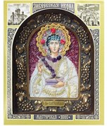 Пантелеймон Святой Великомученик, дивеевская икона из бисера и натуральных камней