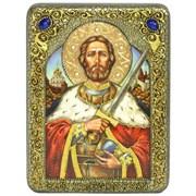 Святой благоверный князь Александр Невский икона ручной работы под старину