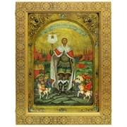 Святой благоверный князь Александр Невский икона ручной работы под старину в киоте