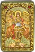 Иеремиил Архангел на мореном дубе икона ручной работы под старину